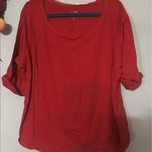 Lane Bryant Red Cotton Top 22/24